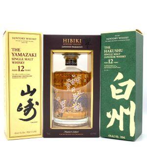 Yamazaki 12 + Hibiki Master's Select + Hakushu 12 Single Malt Japanese Whisky 3X 700ml
