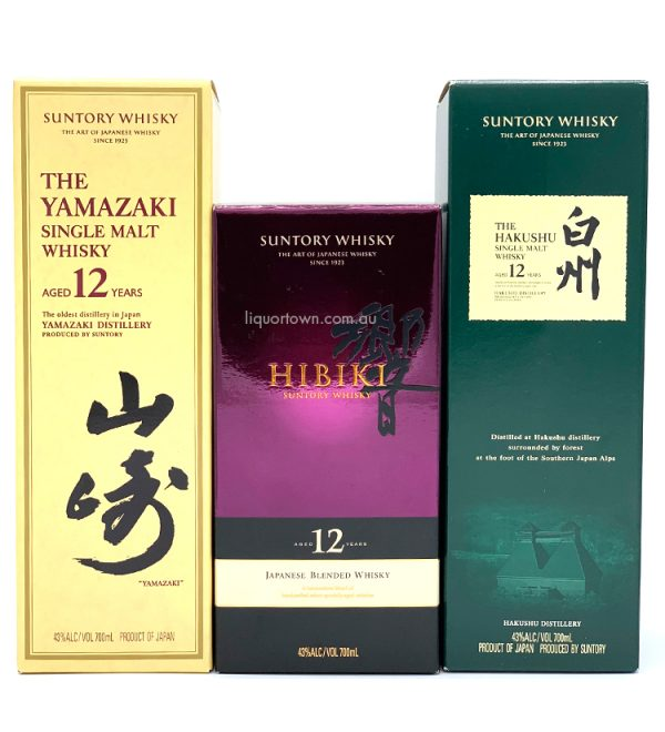 Yamazaki 12 + Hibiki 12 + Hakushu 12 Single Malt Japanese Whisky 3X 700ml